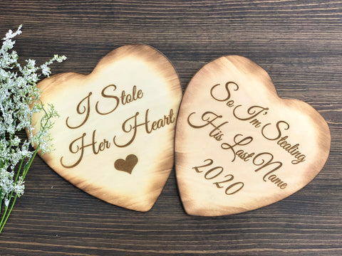 I Stole her heart Engagement photo prop - Knot and Nest Designs