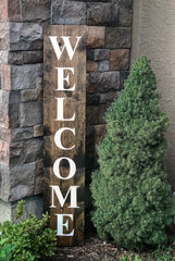 Welcome wood sign - 6' tall, 5'tall or 4' tall - Knot and Nest Designs