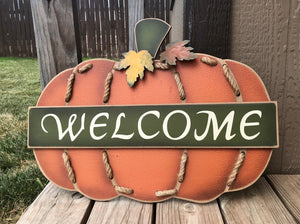 Load image into Gallery viewer, Fall large pumpkin Sign - Knot and Nest Designs