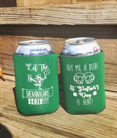 10 pack St. Patrick's Day koozies - Knot and Nest Designs