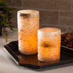Battery operated wax wood candle