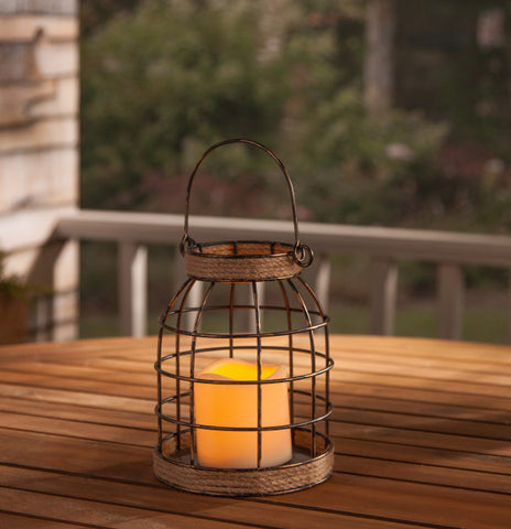 Rustic Farmhouse Lantern with Candle - Knot and Nest Designs