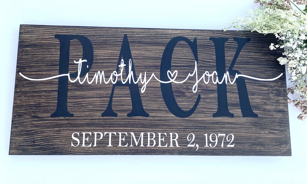 Custom Wedding date Pinewood Sign - Knot and Nest Designs