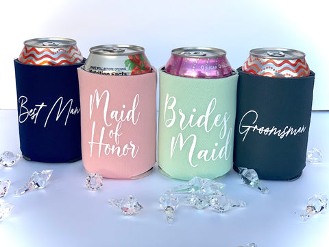 Wedding Can Coolers - Knot and Nest Designs