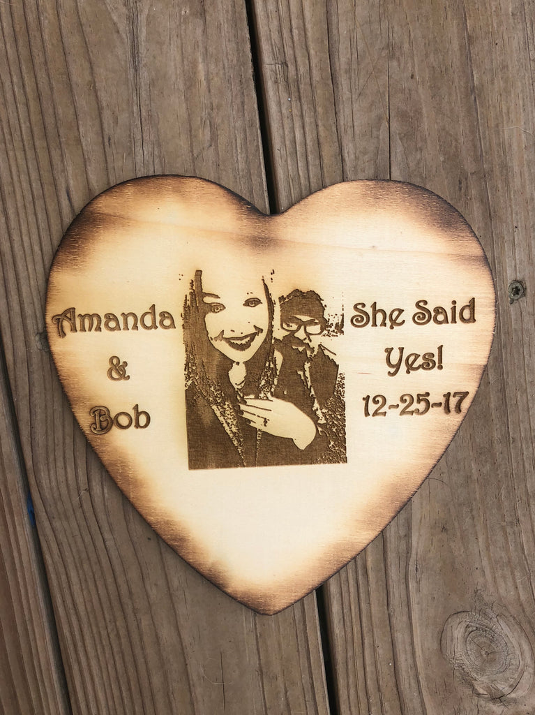 Custom engraved photo heart - Knot and Nest Designs