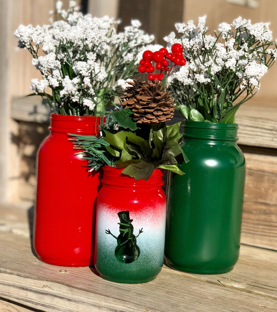 Load image into Gallery viewer, Holiday Ombré Mason Jar - Knot and Nest Designs