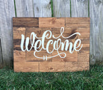 Large Rustic Pine Wood Welcome Sign