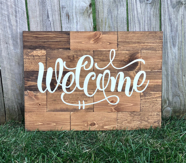 Large Rustic Pine Wood Welcome Sign Knot And Nest Designs