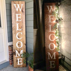Welcome wood sign - 6' tall - Knot and Nest Designs