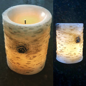 Battery operated wax wood candle - Knot and Nest Designs