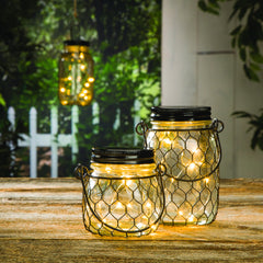 Rustic Wire Mason Jar Lamp - Knot and Nest Designs