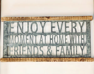 Enjoy Every moment Rustic Metal and Wood Sign - Knot and Nest Designs