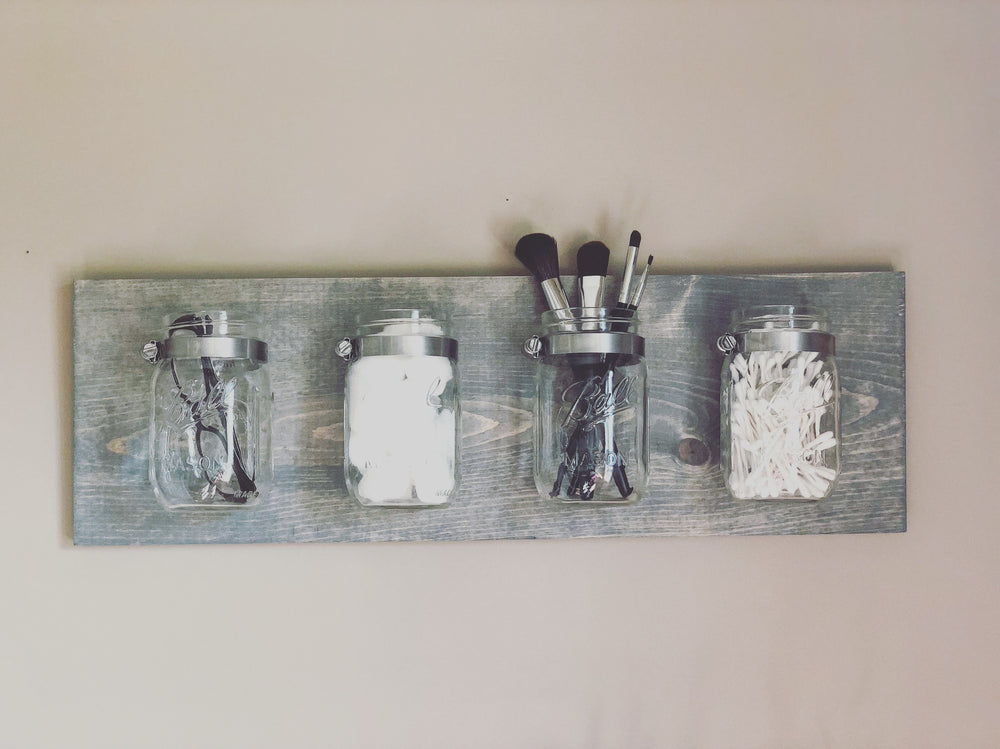 Load image into Gallery viewer, Mason jar wall organizer - Knot and Nest Designs