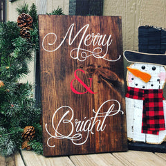 Merry and Bright Pine wood Sign - Knot and Nest Designs