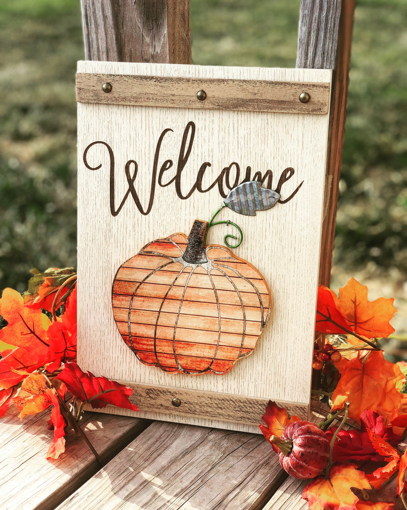 Fall Welcome Rustic pumpkin Sign - Knot and Nest Designs