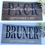 Custom Wedding date Pinewood Sign