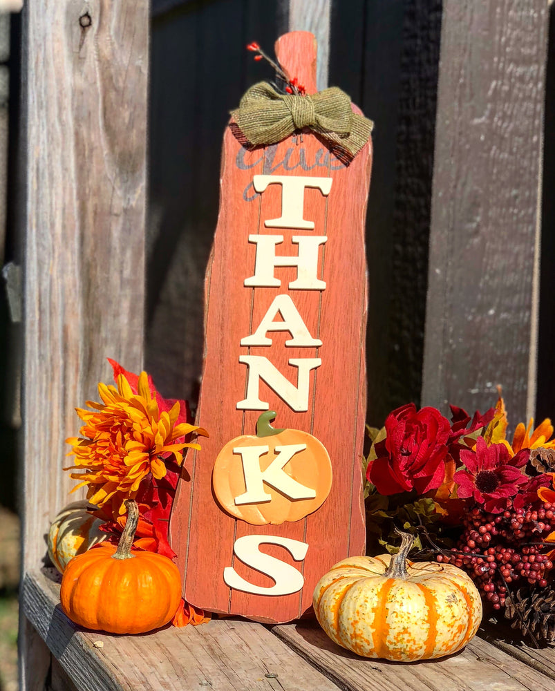 Give Thanks Fall Sign - Knot and Nest Designs