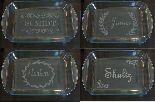 Wedding Gift Personalized Pyrex Baking Dish Knot And