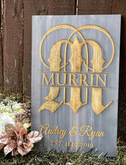 Custom Monogram Pinewood Sign - Knot and Nest Designs