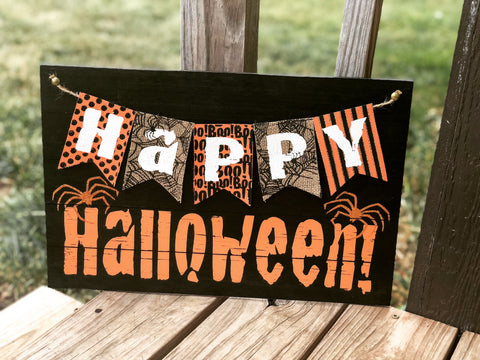 Happy Halloween wood and burlap sign - Knot and Nest Designs