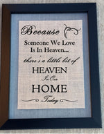 Burlap Home Sign - In Loving Memory