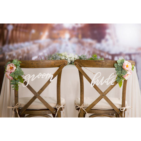 bride and groom chair signs - Knot and Nest Designs