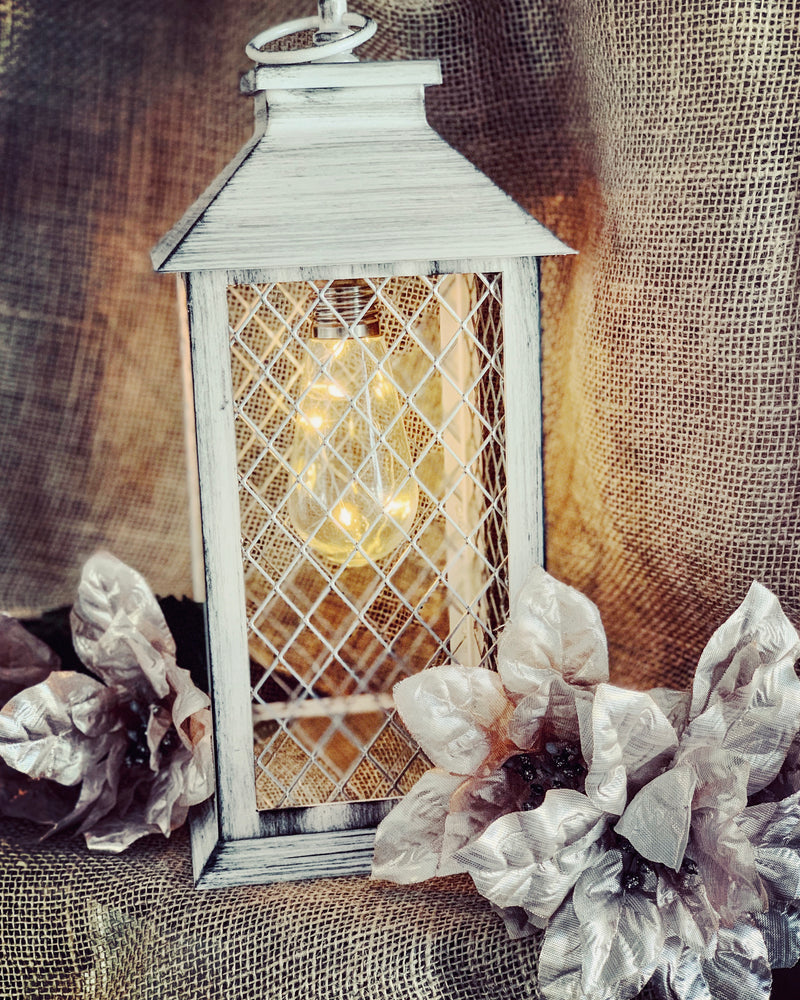 White Farmhouse Rustic bulb lantern - Knot and Nest Designs