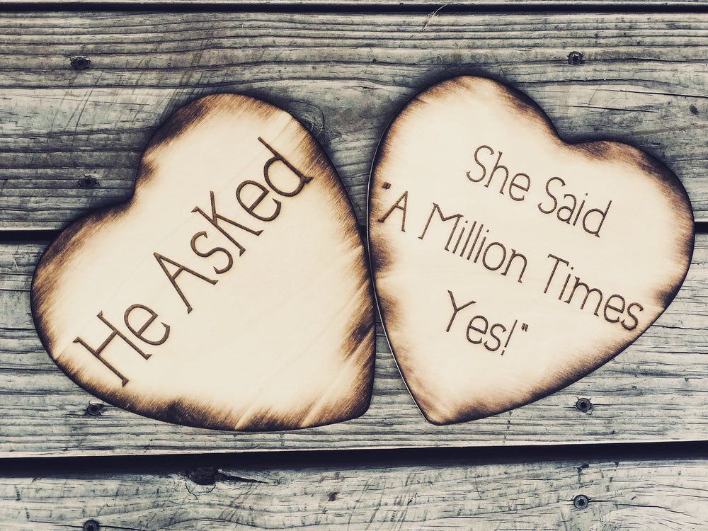 She said A Million Times Yes Engagement photo prop