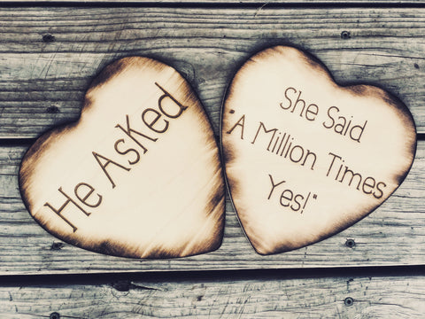 She said A Million Times Yes Engagement photo prop - Knot and Nest Designs