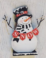 Wooden Frosty Snowman with Snow Banner