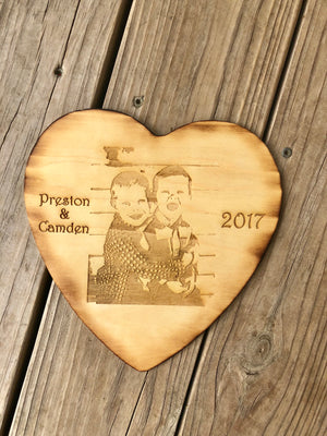 Load image into Gallery viewer, Custom engraved photo heart - Knot and Nest Designs