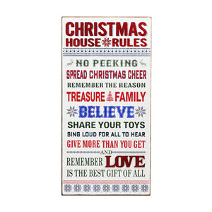 Christmas Rules Extra Large Sign - Knot and Nest Designs