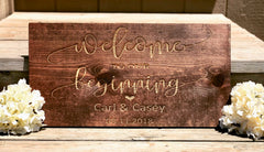 Welcome to our Beginning Engraved Pinewood Sign - Knot and Nest Designs