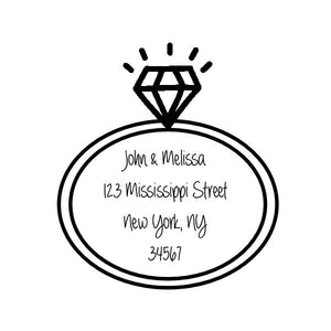 Engagement Ring custom return address stamp - Knot and Nest Designs