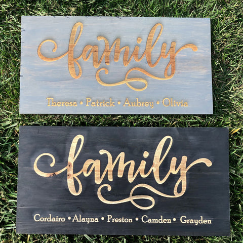 Family Custom Engraved Pinewood Sign - Knot and Nest Designs