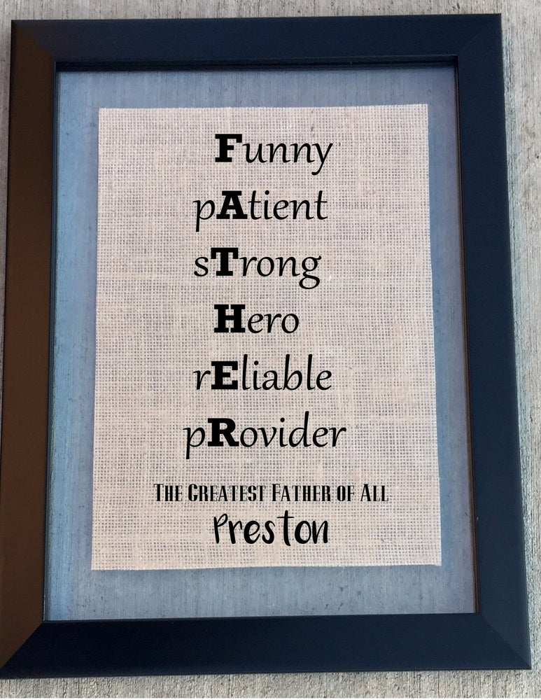 Burlap FATHER Sign