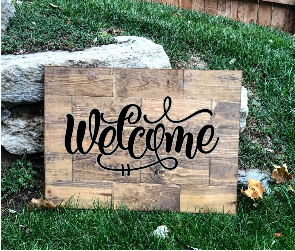 Classroom Decor Buy ~ Large rustic pine wood welcome sign knot and nest designs