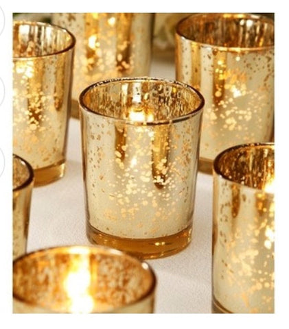 96 Gold, rose gold, Silver, Or Amber mercury votives value pack - Knot and Nest Designs
