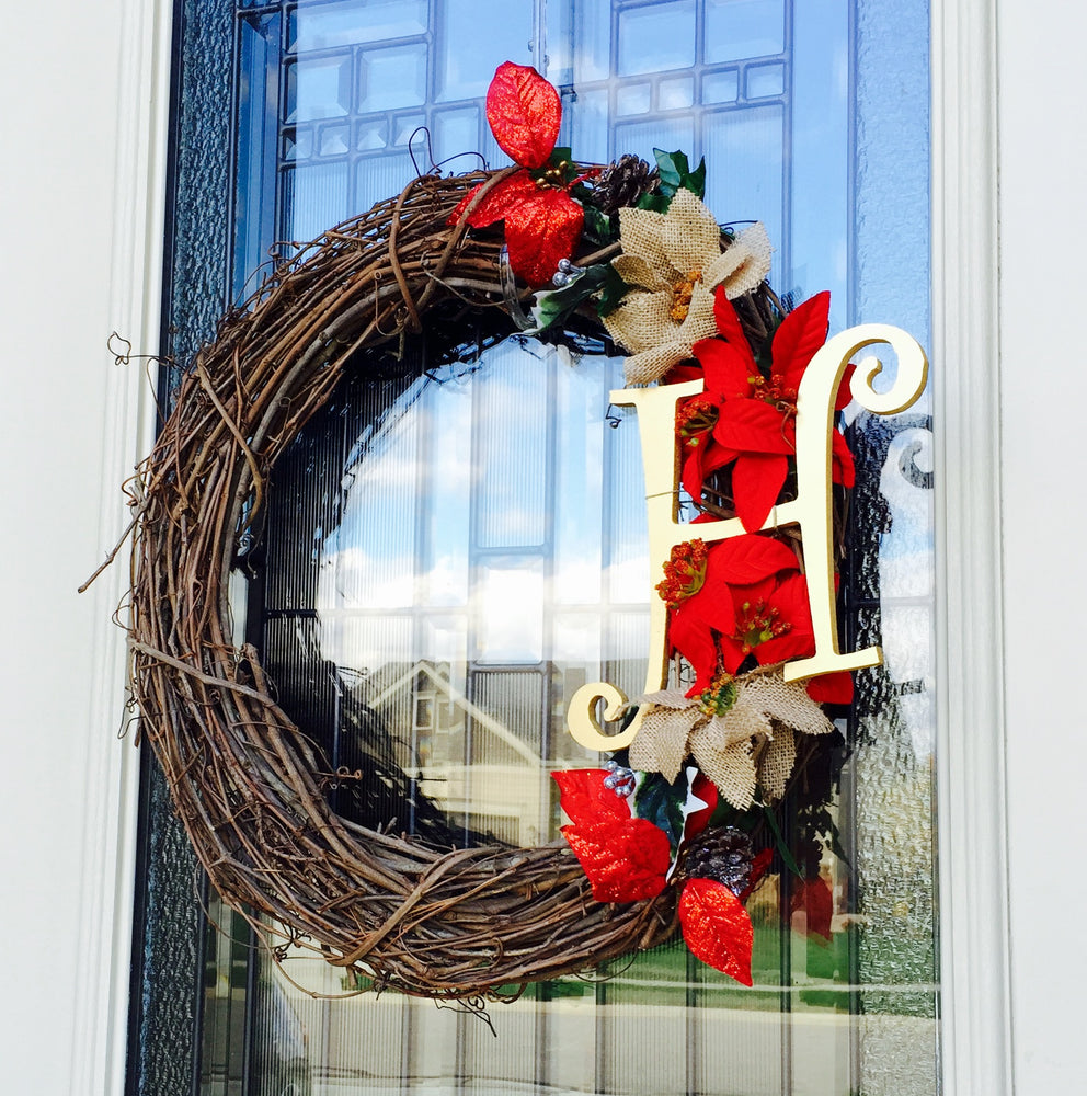 Holiday Wreath - Customized Choose your monogram - Knot and Nest Designs