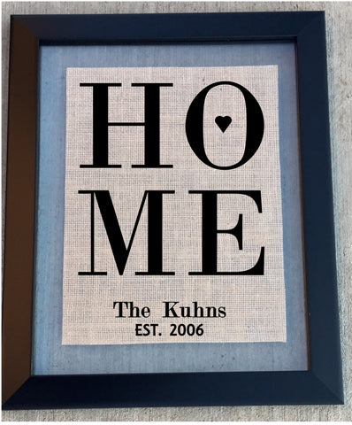 Burlap home custom Sign