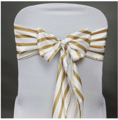 5 - striped Chair Sashes Choose your color