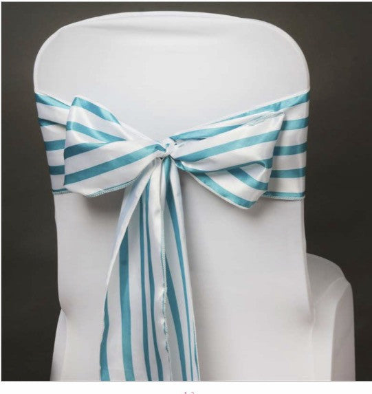5 - striped Chair Sashes Choose your color - Knot and Nest Designs