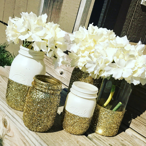 Glitter Dipped painted Mason Jars - Knot and Nest Designs