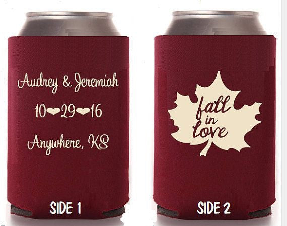 Custom can coolers - Fall in Love can coolers