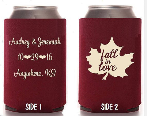 Custom Koozies - Fall in Love - Knot and Nest Designs