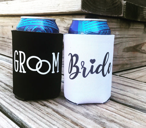 bride and groom can coolers - Knot and Nest Designs