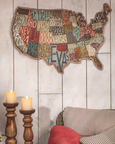 Rustic State Map - Rustic Decor - Knot and Nest Designs