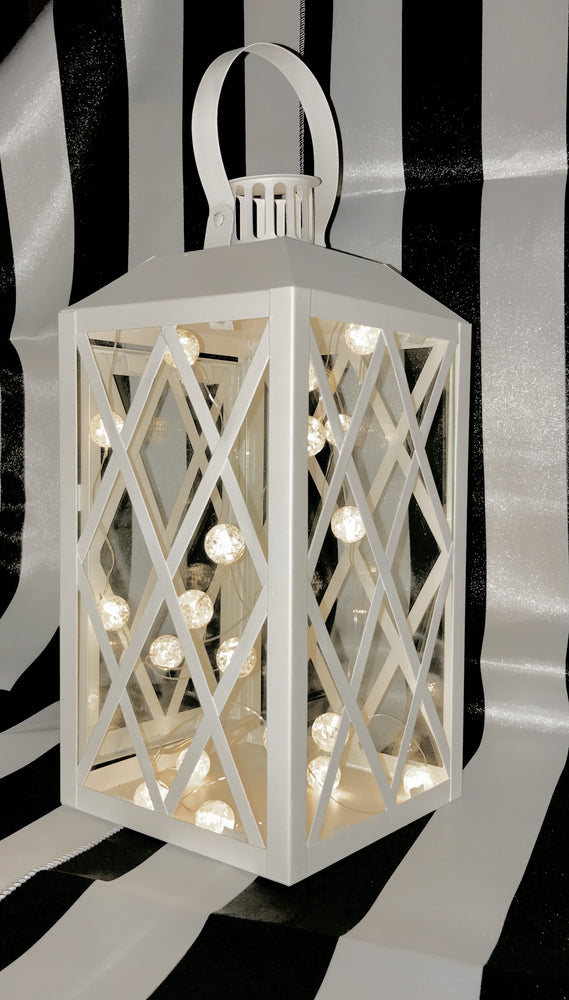 Large White Metal Lantern