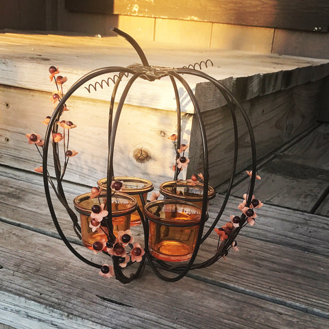 Metal Pumpkin Tealight Holder
