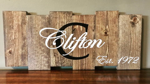 Wedding Gift or Home Decor Customized Rustic Last name sign - Knot and Nest Designs